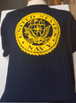 United States Navy Seal printed on the front of a short sleeve navy tee  shirt 63c6787c58b